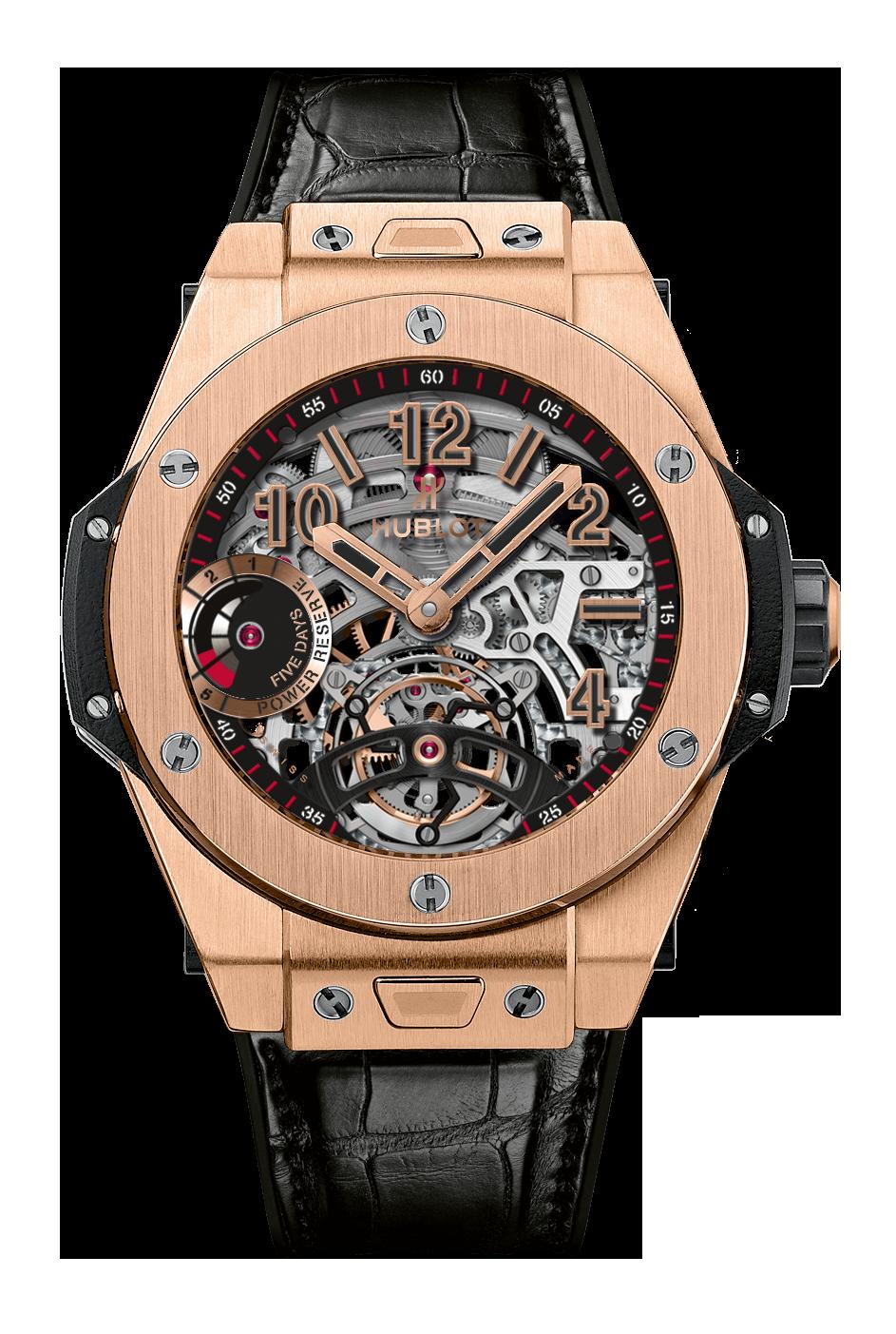 Big Bang Tourbillion Power Reserve 5 Days Skeleton Dial 18k King Gold Men's Watch 45mm