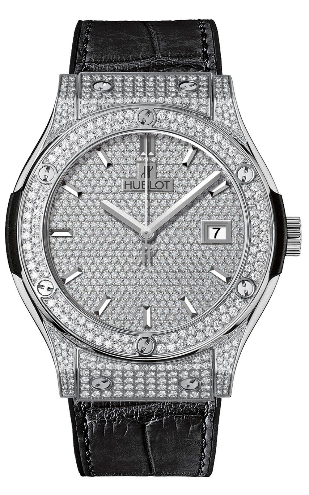 Classic Fusion Diamond Dial Black Leather Band Titanium Case Ladies Watch 581.NX.9010.LR.1704, 33mm